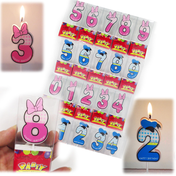 Birthday Number Candles Cartoon Minnie Donald Duck Candle