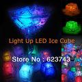 24 pcs free grátis ativo líquido cores mudando led night luz decoração cubo de gelo, cubo de gelo brilhante, iluminado gelo levou atacado