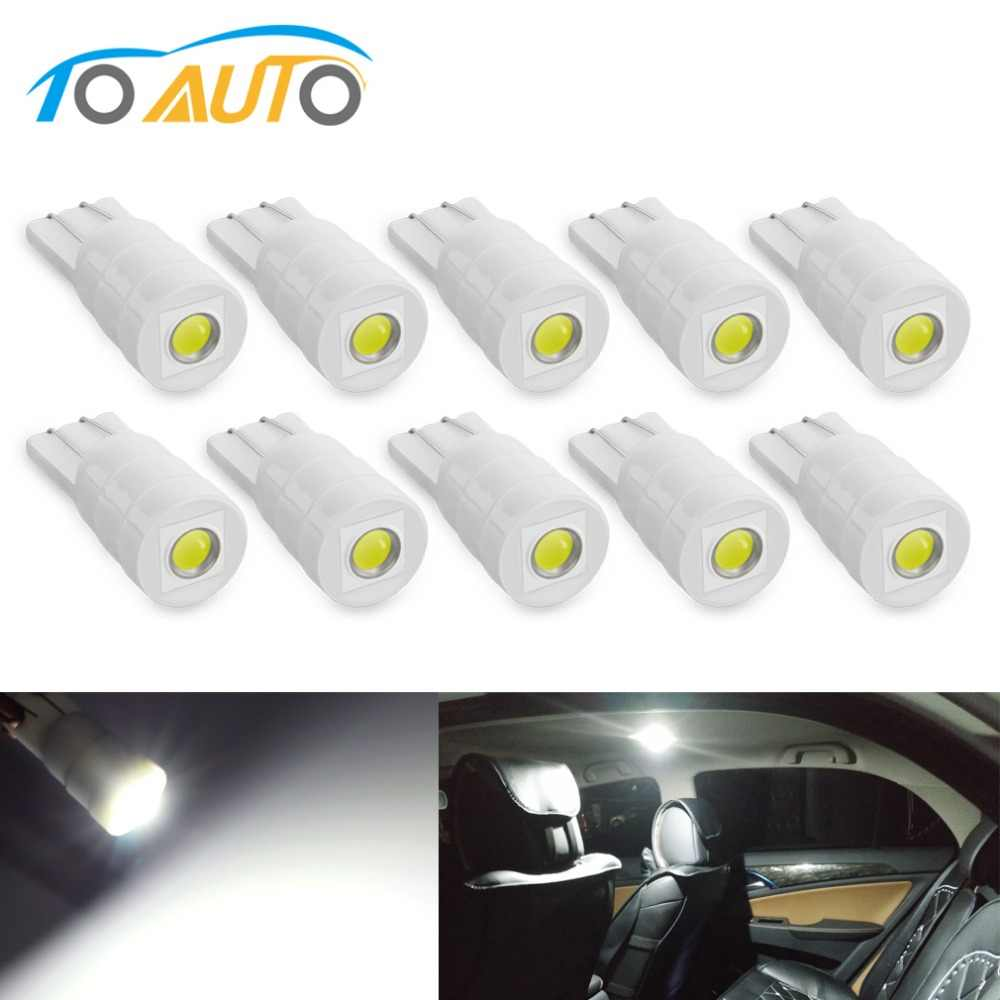 10pcs T10 W5W LED Bulbs 194 168 Ceramic Car Interior Lights Reading Door Instrument Side Plate Light Auto Lamp White 5W5 12V