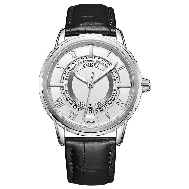где купить BUREI 15023 Switzerland watches men luxury brand daydate Japan NH36 Jewels automatic self-wind sapphire silver Leather belt по лучшей цене