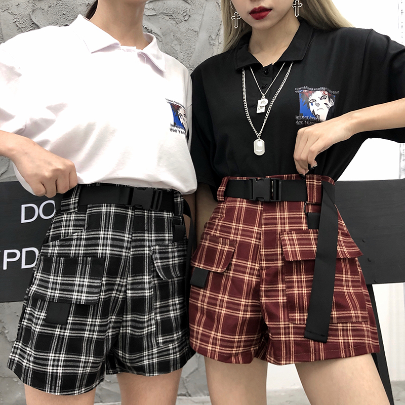 Harajuku Bf Plaid Shorts Women High Wiast Casual Shorts 2019 New Fashion Summer Streetwear Grunge Style Shorts For Female