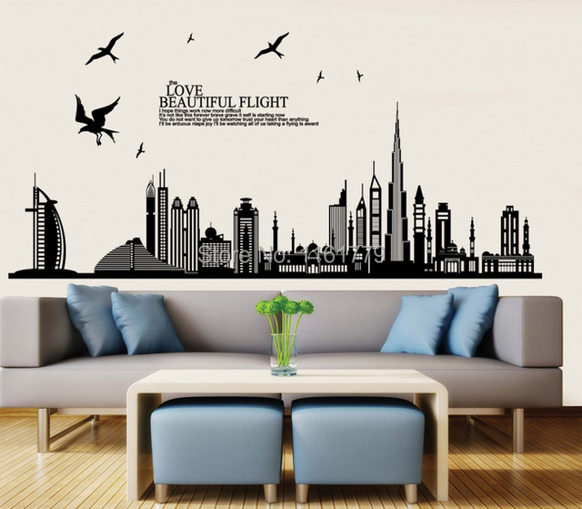 wall stickers home decor removable vinyl wall sticker new arrival dubai city landscape wall decals home - Home Decor Dubai