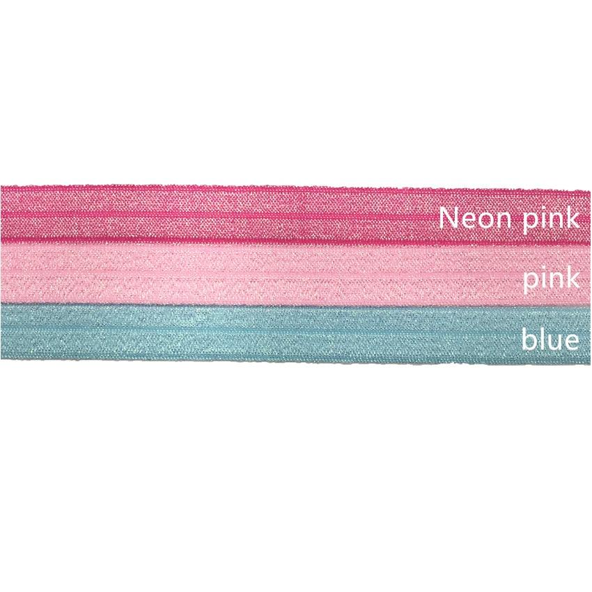 "1 yards hot pink 5//8/"" glitter elastic FOE DIY baby headbands /& hair ties"