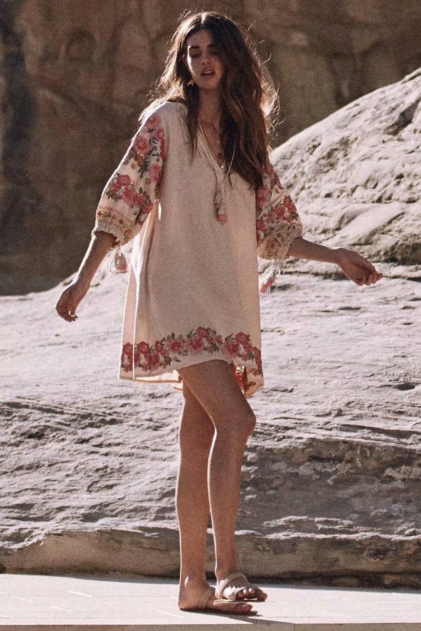 2018 femmes mode lâche Boho robe lanterne manches Floral broderie robe coton et lin automne courte robe Chic Vestidos