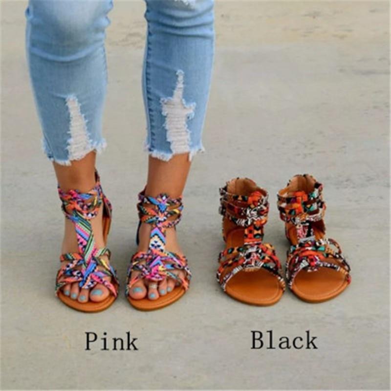 Disputent/богемная женская обувь на плоской подошве; Летние римские сандалии; Sandalias Mujer; женская пляжная обувь на плоской подошве; большие размеры