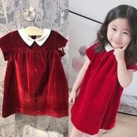 2018 New Autumn Newborn Infant Kids Baby Girl Velvet Dress Shortsleeve Solid Casual Turn down Collar Princess Dress