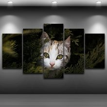 Home Decor Modern Frame HD Printed Paintings 5 Panel Cute Cat Posters Modular Animal Tableau Wall Art Pictures Canvas PENGDA(China)
