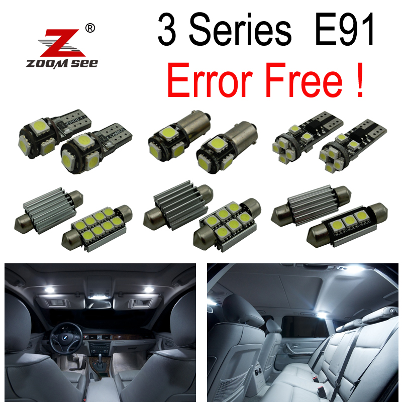 19pcs License plate LED Bulb + Interior dome map Light Kit for BMW 3 series E91 325xi 328i 328xi 325d 320d 330d Touring (06-12) buildreamen2 car 5630 chip led bulb white interior led kit package map dome trunk license plate light for ford focus 2008 2011