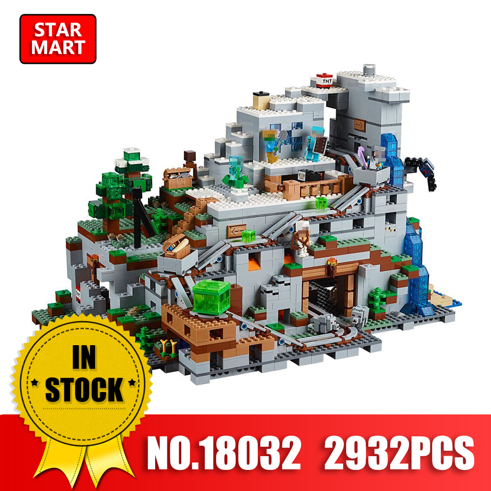 LEPIN 18032 2932Pcs Minecrafted The Mountain Cave Model Blocks Bricks Toy For Children Compatible legoINGer 21137 Building Kit lepin 18032 minecrafted figures the mountain cave model building kits blocks bricks toys for children compatible legoing 21137