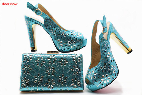 doershow Italian Shoes with Matching Bags 2018 African Shoe and Bag Set Italian Design African Shoes and Bag Set for Parti G49-1 doershow italian design matching shoe and bag set african party shoe and bag set for wedding shoes ladies shoes and bag ym1 12