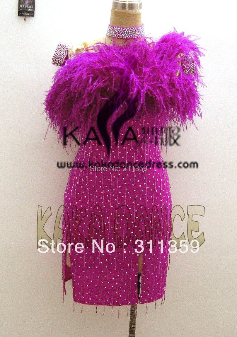 Hot Sales! Latin Dance Dress,tango Salsa Samba Dance Wear,purple Ostrich Feather Latin Dance Skirt,KAKA-L130347