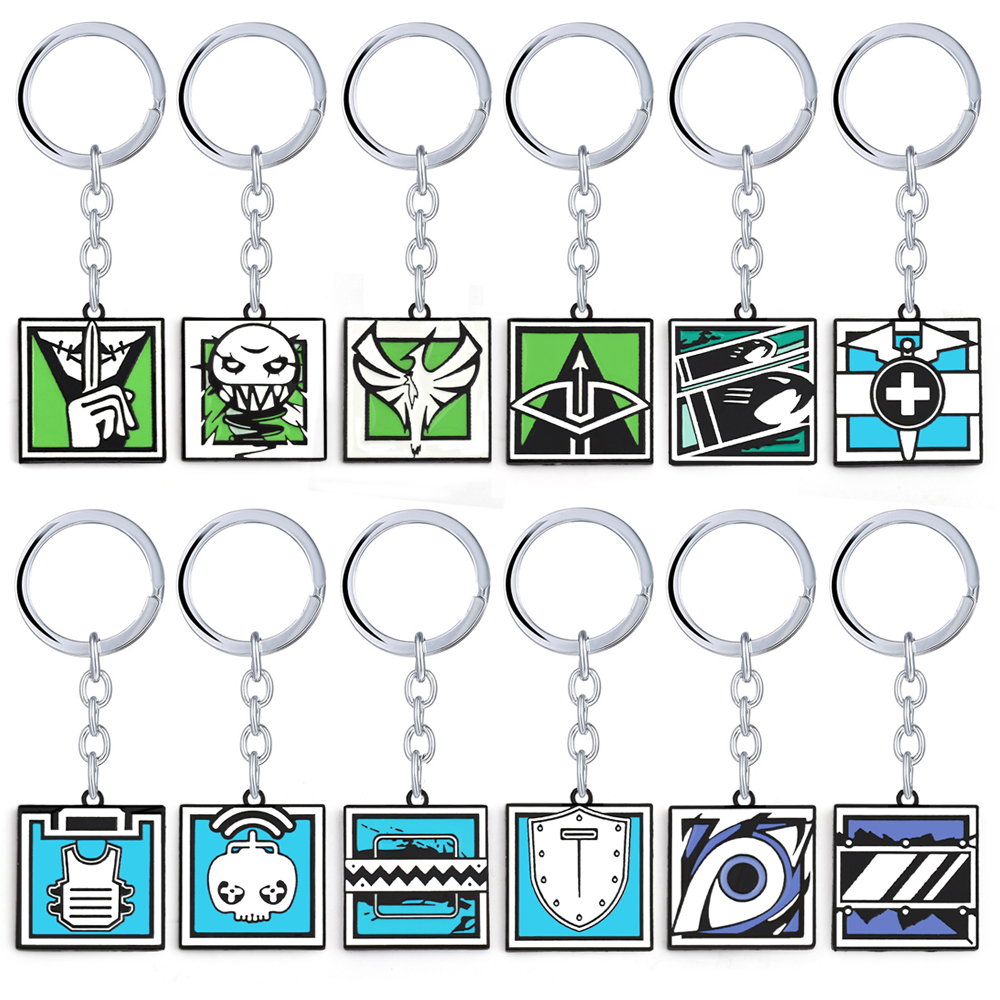 Game Rainbow Six Logo Keyring ASH Pulse FUZE Lesion kapkan Glaz Keychain Nice Souvenir Jewelry For Fans Charm Gift Toy ...