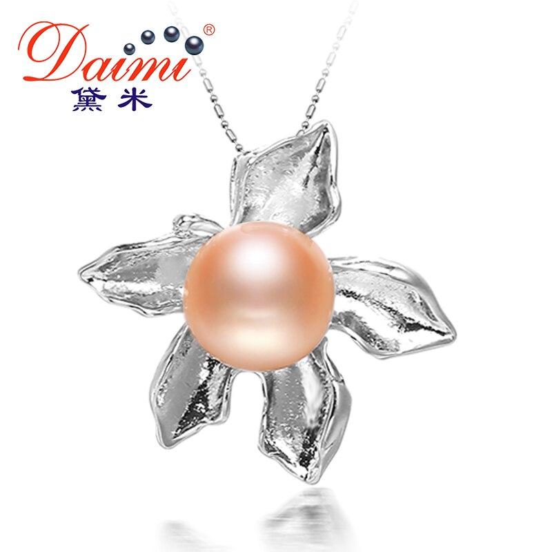 Daimi Maple Leaf Anhänger 4 Farbe Natürliche Perle Anhänger Halskette 10-11mm Süßwasser Perle P Herrenschuhe Flip-flops
