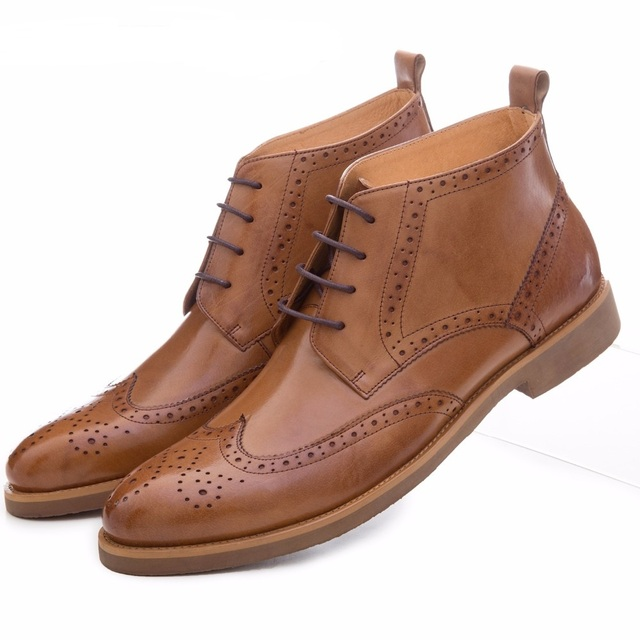 Fashion black / brown oxfords shoes mens boots genuine leather shoes mens dress boots business mens ankle boots Men formal boots