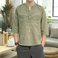 #0525 Summer Half Sleeve T Shirt For Men Round Neck Cotton Linen T shirt Embroidery Chinese Style High Quality Fashion Plus Size