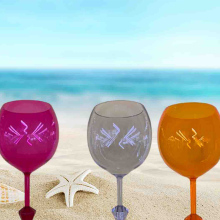 Beatiful Floating Beach Glass Acrylic Shatterproof Wine Beer Cocktail Drink Glasses For Outdoor Pool Stick up in Sand Snow Cup