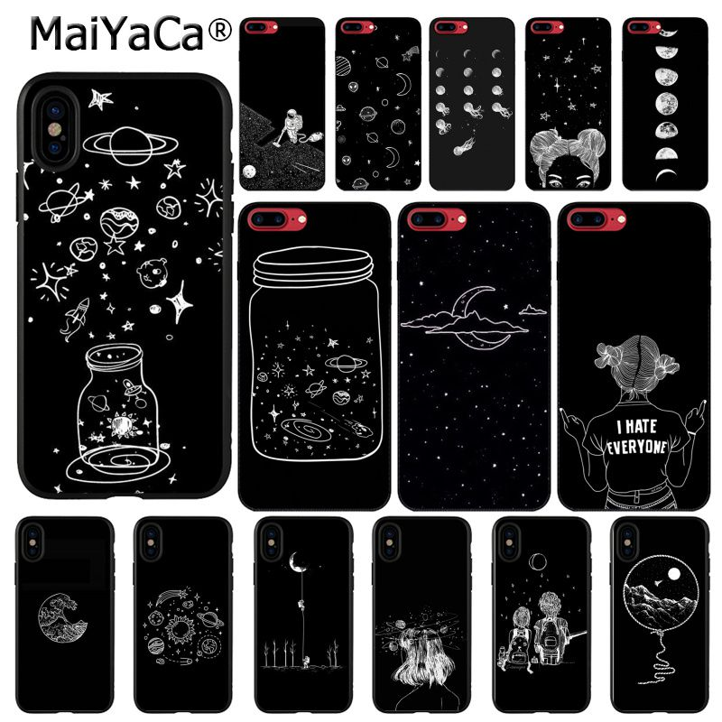 Amicable Maiyaca Sky Space Planet Black And White Sun Moon Stars Black Soft Phone Cover For Iphone X Xs Max 6 6s 7 7plus 8 8plus 5 5s Xr Half-wrapped Case Phone Bags & Cases