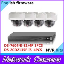 English DS-7604NI-E1/4P(4 POE) 1 piece + Multi-language DS-2CD2135F-IS (3MP POE) 4 pieces NVR Kit