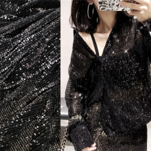Black Silver Sequins Flash Fabric Small Fold for Dress Stoffen Telas De Algodon Para Patchwork Sequin
