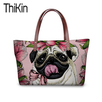 THIKIN Women Shopper Bag Canada Designer Bags Pug Pattern Handbags for Women Casual Tote Famous Brands Girls Big Beach Bags