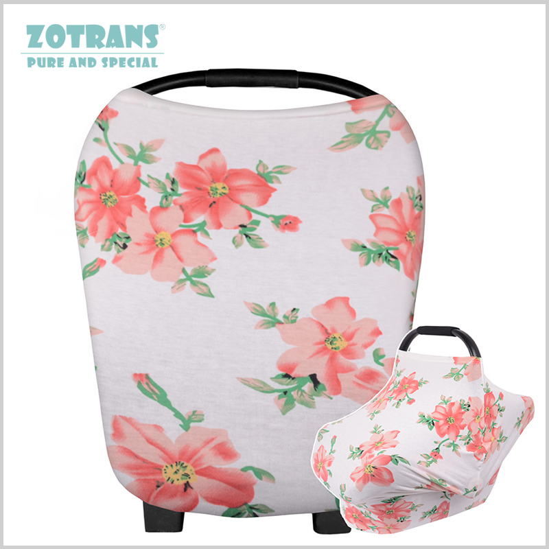 Nursing Cover Scarf for Mum Floral Breastfeeding Baby Car Cover Seat Canopy Shopping Cart Cover Case for Feeding