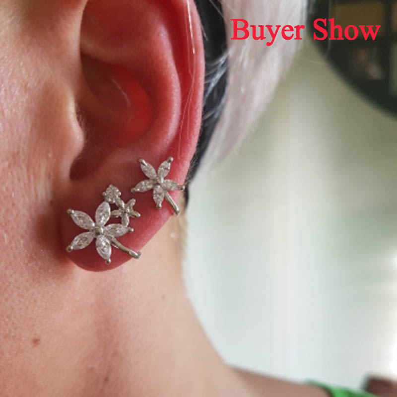 JYouHF Exquisite White/Rose Gold Color Flower Ear Clip Earrings with - Fashion Jewelry - Photo 6