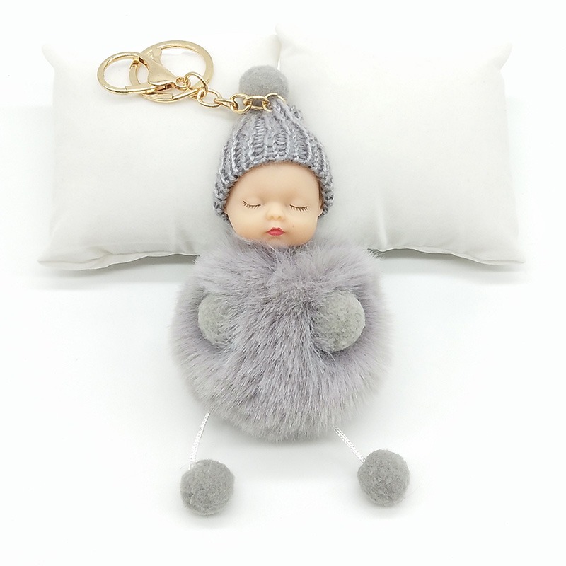 ZOEBER Rabbit Fur Ball Key Chain Hands Sleeping Baby Doll Keychain Pompom  Car Keyring Women Holder Bag Pendant charm jewelry