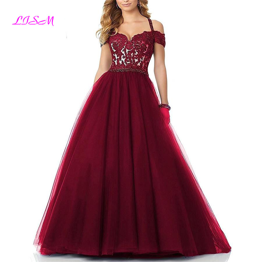 Halter Off Shoulder Ball Gown   Prom     Dresses   Appliques Beaded Long Evening   Dress   vestidos de noche largos elegantes de fiesta 2018