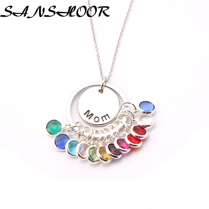 12 Birthstone Charm Open Heart Pendant Necklace Stainless Steel Link Chain Necklace Women Girls 2019 New Gift Best Friend 12pcs A Wide Selection Of Colours And Designs Jewellery & Watches