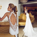 Charming 2016 Open Back Vintage Lace Wedding Dresses Sweetheart Applique Beads Sexy Sheer Court Train Mermaid Bridal Gown Dress