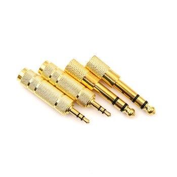 Adaptador 3,5mm macho a 6,5mm hembra 3,5 enchufe a 6,5 entrada jack para audio estéreo adaptador para micrófono auriculares Cable auxiliar convertidor dorado