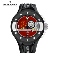 Reef Tiger RT Mens Chronograph And Sport Watches Red Dashboard Dial Quartz Watch With Date Steel