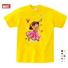 2019 summer children t-shirt solid color Dora girls Sweet Lovely style t shirt  cute cartoon tees Explorer girl tops