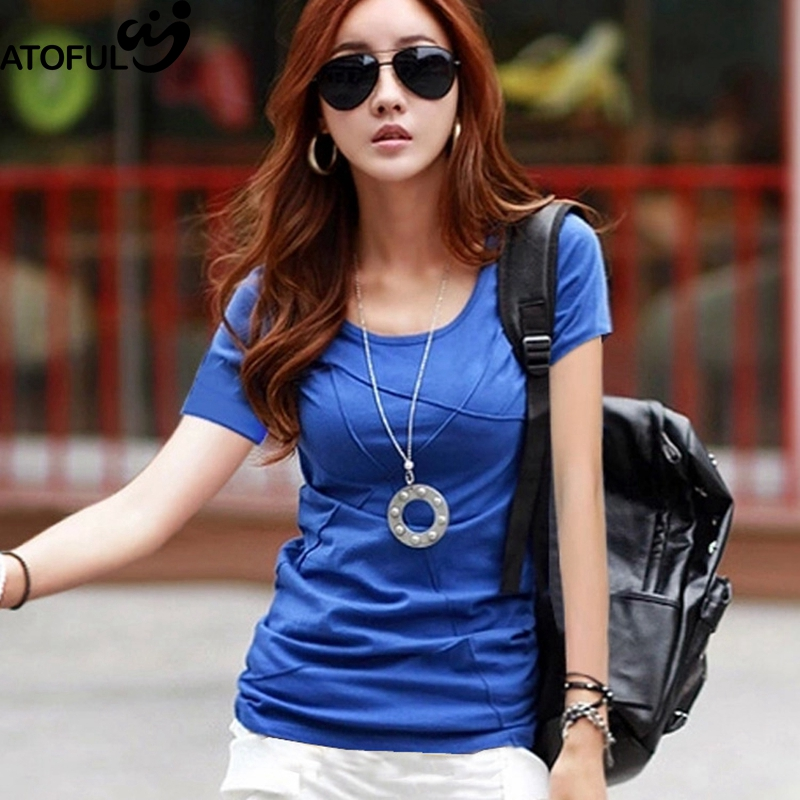 ATOFUL 2017 New Summer T Shirt Cotton Short Sleeve O Neck Solid Tee Shirt Patchwork All-match Korean Slim Female T-Shirt Tops
