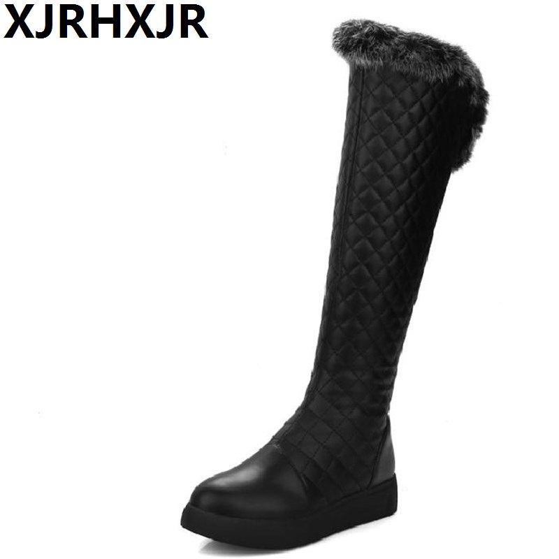 XJRHXJR Women Snow Boots 2018 Winter Thigh High Over the Knee Zip Flat Heel Platform Fur Long Plush Russia Warm Footwears yougolun woman nubuck winter over the knee snow boots 2018 women thigh high boots ladies square heels thick plush warm shoes