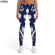 KYKU Flower Leggings Women White Spandex Harajuku Leggins Abstract Ladies Elastic Womens Leggings Pants Casual Bodybuilding