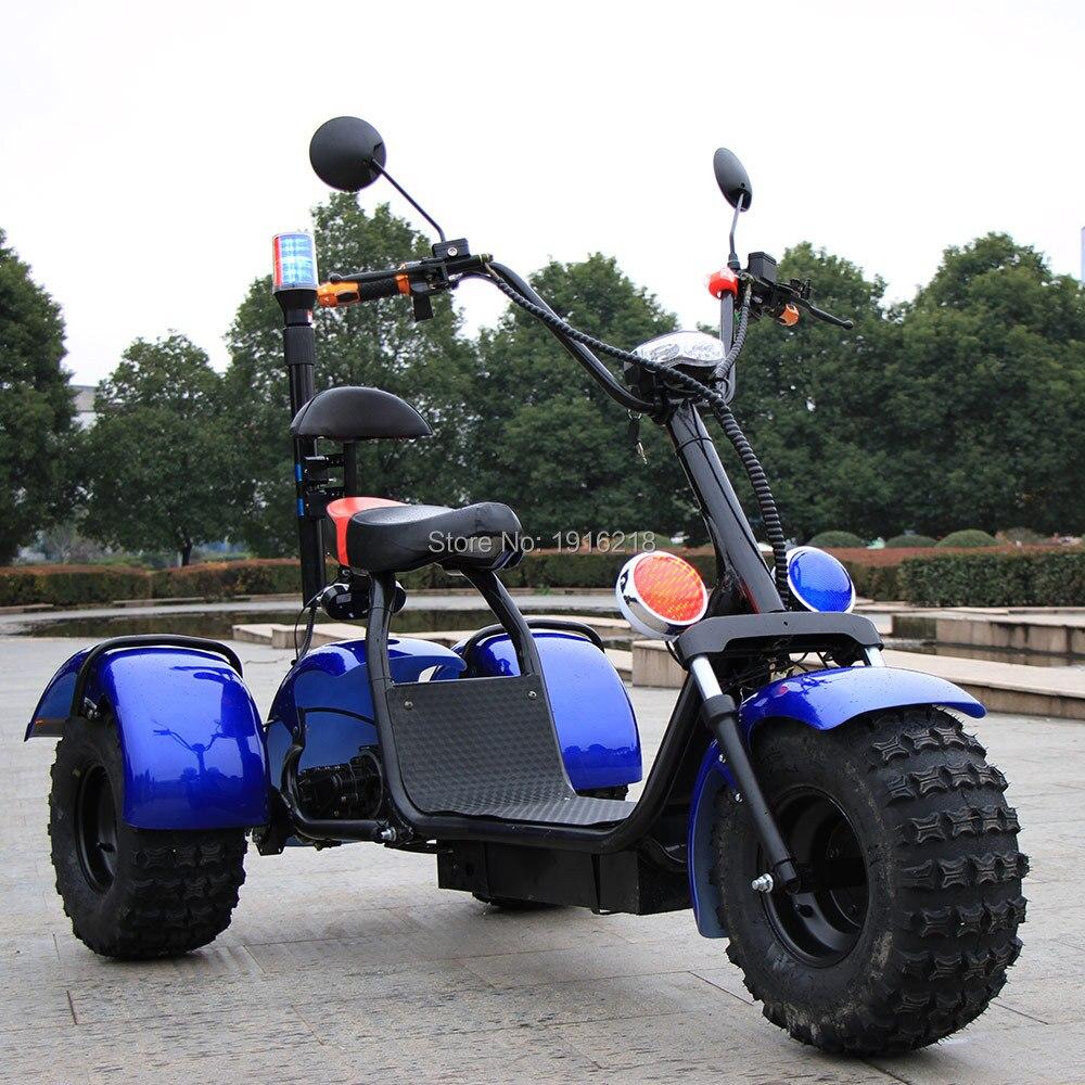 60V20AH литиевых Батарея Электрический мотоцикл самокат двойной амортизатор 3 колеса широкие шины большие колеса скутеры города