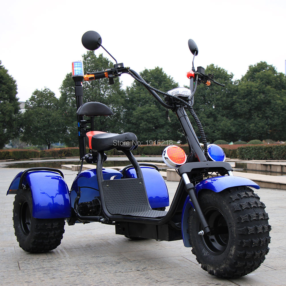60V20AH Lithium Battery  Electric Motorcycle Scooter Double Shock Absorber 3 wheels Wide Tire Big Wheel City Scooters