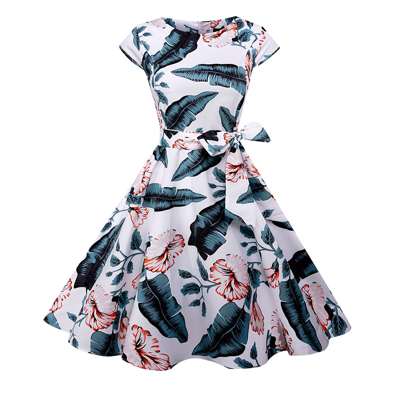 Black White Polka Dot Vintage Dress  Summer Women Floral Print Short Sleeve Retro Robe Rockabilly Dresses Party Jurkjes 5