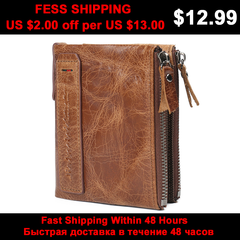 JINBAOLAI Genuine Crazy Horse Cowhide Leather Men Wallets Short Coin Purses Vintage Wallet Brand High Quality Designer carteira brand double zipper genuine leather men wallets with phone bag vintage long clutch male purses large capacity new men s wallets