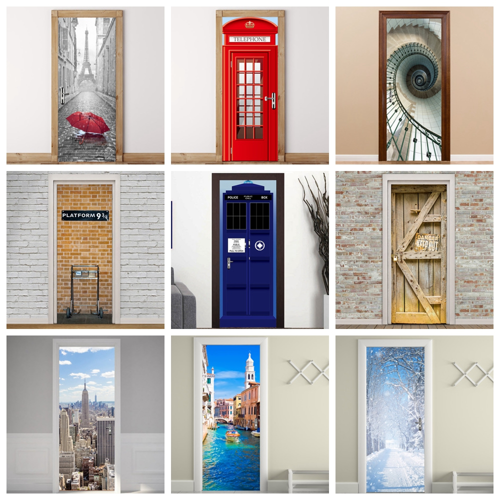 Sticker For Door Self Adhesive Art Wall Decals PVC 3D Door Stickers Poster Porte Papier Peint 77cm/30.31