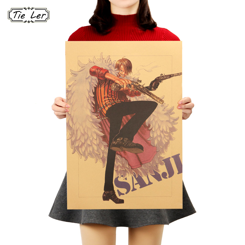 TIE LER Vinsmoke Sanji  Home Decor Wall Sticker Retro Anime Poster One Piece Poster Classic Characters Decorative Paintings