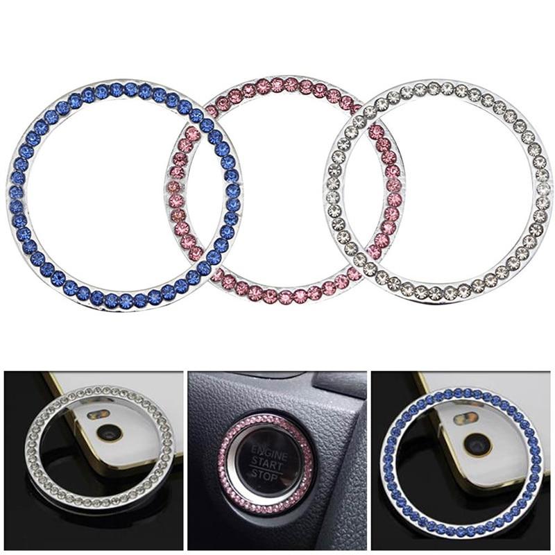 Car Bling Button Start Switch Silver Accessories Diamond Rhinestone Ring Decor