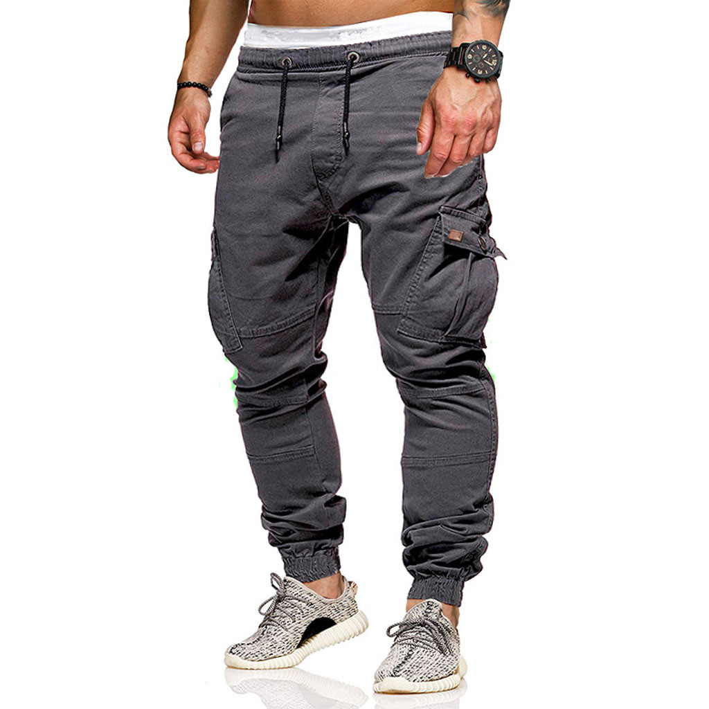 Man Long Pants Men's Casual Fashion Stickers Pocket Tether Elastic Sports Trousers Trousers Fashion Pants For Men