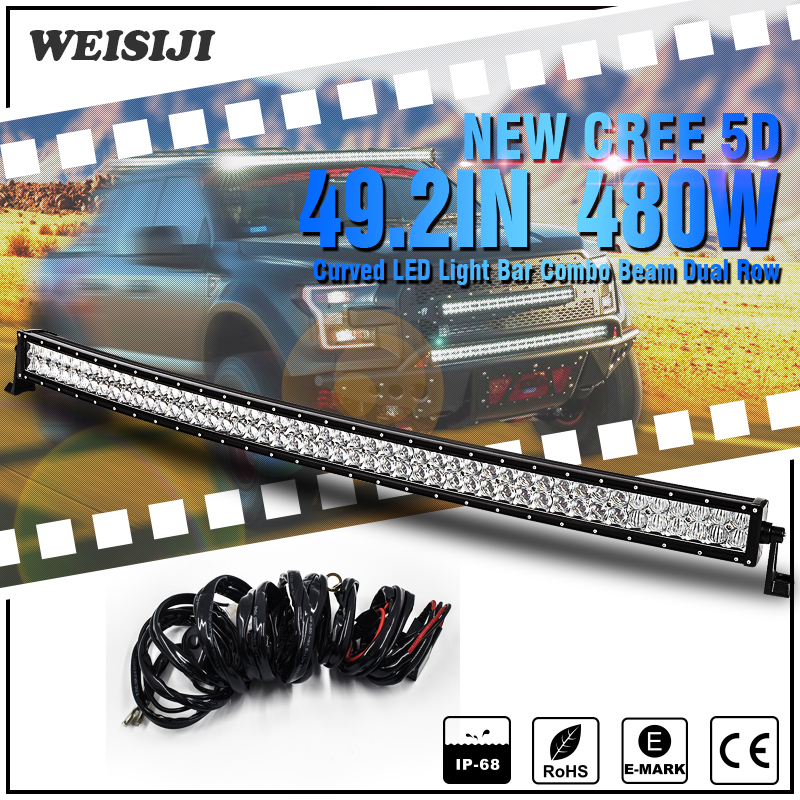WEISIJI 480W 49 2 Curved LED Light Bar with 5D CREE Chips Combo Beam LED Work