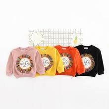 2017 New Spring Autumn Fashion Baby Sweatshirts Children Hoodies Kids Cute Cartoon Lion Tassel Clothing Boys Girls Tops Pullover