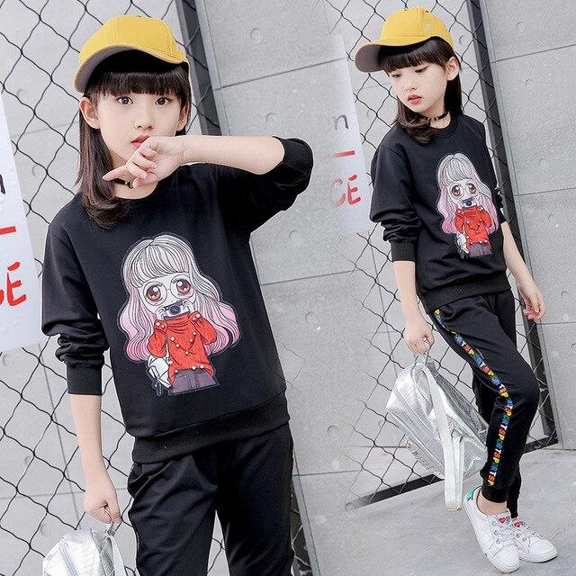 e12b7d00c35d Tammy Ada Girls Clothes 2pcs set Teenager Sports Suits Cotton ...