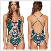 D'une seule pièce maillot de bain trikini sexy 2018 maillots de bain femmes d'une seule pièce imprimé floral vert feuille maillot de bain bandage bambou maillot de bain