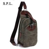 S P L Casual Men Chest Bag Crossbody Hand Bag High Quality Canvas Shoulder Bag Designer