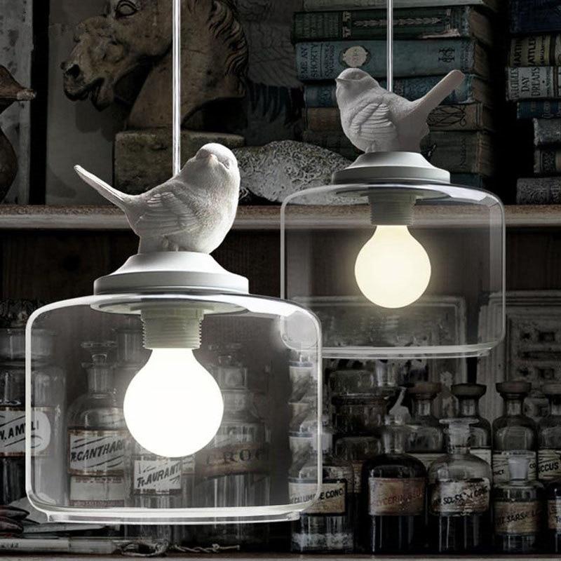 Lanternas Restaurante Droplight Nórdico Pássaro Droplight Personalidade Criativa Retro Lustres Moderna Pingente de Vidro Da Lâmpada Com Lâmpada